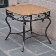 International Caravan Valencia Wicker Resin Patio Side Table; Honey