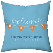 Checkerboard Personalized Baby Banner Throw Pillow; Blue