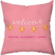 Checkerboard Personalized Baby Banner Throw Pillow; Pink