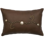 Wooded River Decorative Conchos and Studs Leather Lumbar Pillow