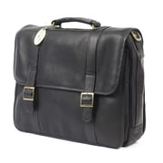 Claire Chase Porthole Leather Laptop Briefcase; Black