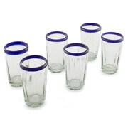 Novica The Javier and Efren Juice Glass (Set of 6); Cobalt Blue