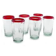Novica The Javier and Efren Juice Glass (Set of 6); Ruby Red