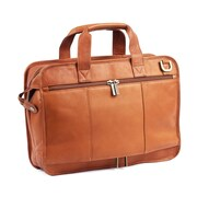Claire Chase Slimline Executive Leather Laptop Briefcase; Saddle