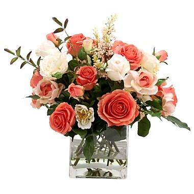 Distinctive Designs Waterlook Silk Rose Mixture in Glass Vase