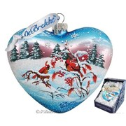G Debrekht Winter Birds Heart Ornament