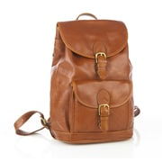 Aston Leather Drawstring Backpack with Front Buckle Pocket; Tan