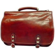 Alberto Bellucci Verona Comano Leather Laptop Briefcase; Brown
