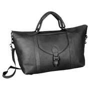 David King 25'' Leather Top Zip Travel Duffel; Black