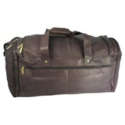 David King 20.5'' Leather Multi Pocket Travel Duffel; Caf  / Dark Brown