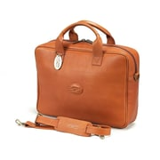 Claire Chase Small Business Leather Laptop Briefcase; Saddle
