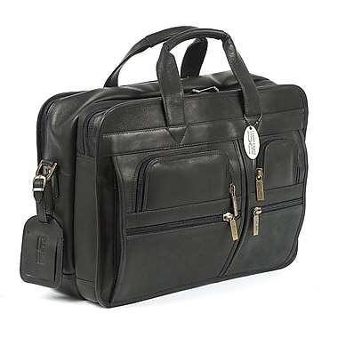 Claire Chase Executive Leather Laptop Briefcase; Black