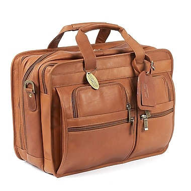Claire Chase X-Wide Executive Leather Laptop Briefcase; Saddle