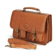 Claire Chase Business Leather Laptop Briefcase; Saddle