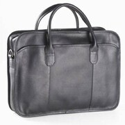 Clava Leather Colored Vachetta Classic Top Handle Leather Laptop Briefcase; Black