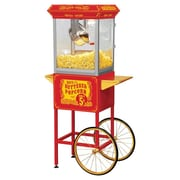 Funtime Popcorn Machines 8 oz. Sideshow Hot Oil Kettle Popcorn Machine; Red Cart and Gold Wheels