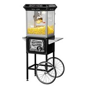 Funtime Popcorn Machines 8 oz. Sideshow Hot Oil Kettle Popcorn Machine; Black Cart and Silver Wheels