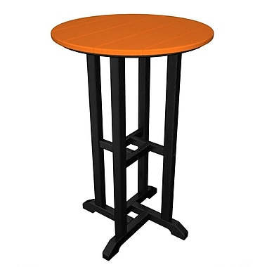 POLYWOOD Contempo Dining Table; Black / Tangerine