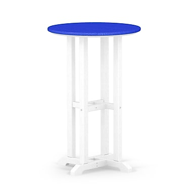 POLYWOOD Contempo Dining Table; White / Pacific Blue