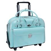 McKlein USA W Series Roseville ' Laptop Leather Catalog Case; Aqua Blue