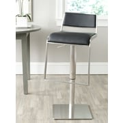 Safavieh FOX Adjustable Height Swivel Bar Stool with Cushion; Black