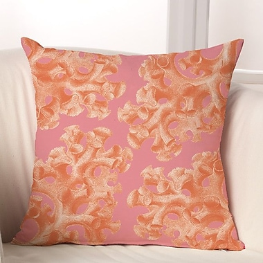 Checkerboard Coral Throw Pillow; Pink / Orange