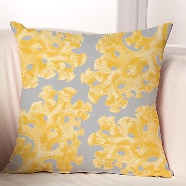 Checkerboard Coral Throw Pillow; Grey / Yellow