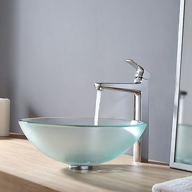 Kraus Frosted Glass Vessel Sink and Virtus Faucet; Chrome
