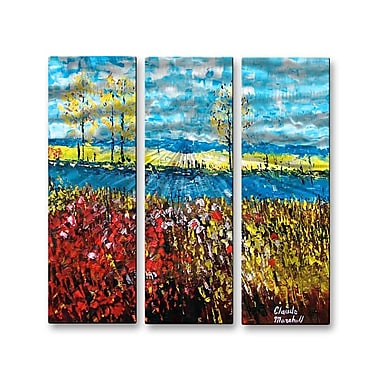 All My Walls 'Flower Fields' by Claude Marshall 3 Piece Painting Print Plaque Set