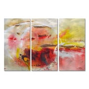 All My Walls 'Casual Warmth' by Mary Lea Bradley 3 Piece Original Painting on Metal Plaque Set