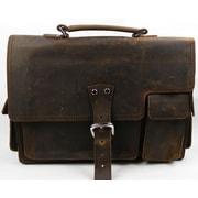 Vagabond Traveler Vintage Leather Laptop Briefcase; Reddish Brown