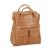 Aston Leather Top Zippered Backpack; Tan