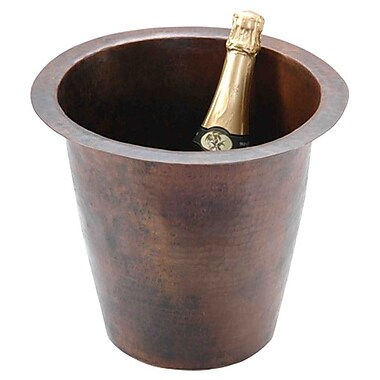 Premier Copper Products 12'' x 12'' Round Hammered Champagne Bar Sink