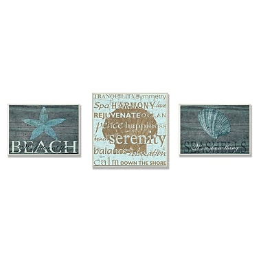 Stupell Industries Beach is Better Textual Art 3 Piece Wall Plaque Set