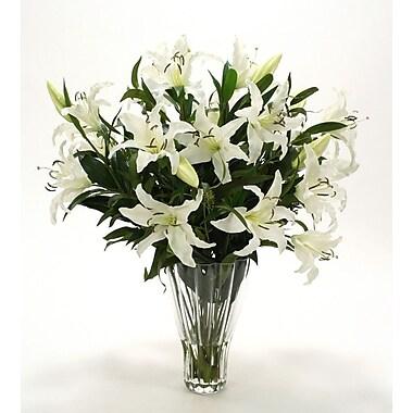 Distinctive Designs Waterlook Silk Casa Blanca Lilies in Glass Vase