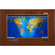 Geochron Geochron Boardroom Model World Wall Clock; Cherry, Silver Trim