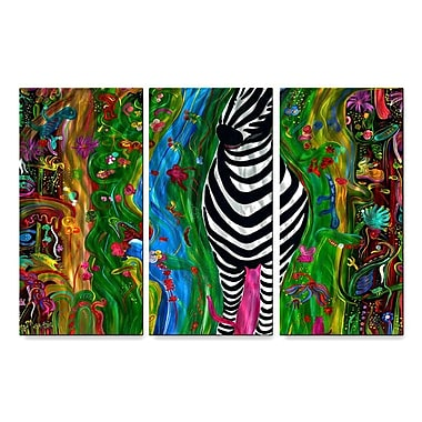 All My Walls 'Zebra' by Jerry Clovis 3 Piece Painting Print Plaque Set
