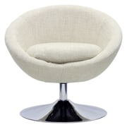 Fox Hill Trading Overman Disc Base Astro Barrel Lounge Chair; Oatmeal