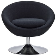 Fox Hill Trading Overman Disc Base Astro Barrel Lounge Chair; Black