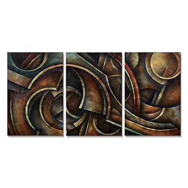 All My Walls 'Mechanised' by Michael Lang 3 Piece Graphic Art Plaque Set