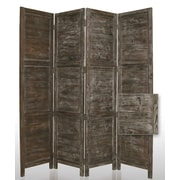 Screen Gems 84'' x 76'' Nantucket Painted 4 Panel Room Divider; Black