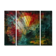 All My Walls 'Erupting Beauty' by Megan Duncanson 3 Piece Original Painting on Metal Plaque Set