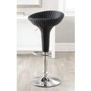 Safavieh Monicka Adjustable Height Swivel Bar Stool; Wicker Black