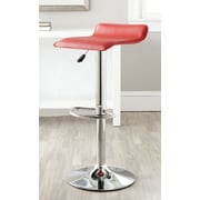 Safavieh Sheba Adjustable Height Swivel Bar Stool with Cushion; Red