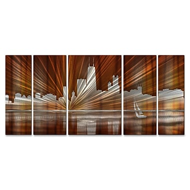 All My Walls Chicago Skyline by Ash Carl 5 Piece Graphic Art Plaque Set; Warm