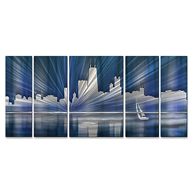 All My Walls Chicago Skyline by Ash Carl 5 Piece Graphic Art Plaque Set; Cool