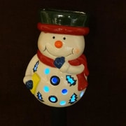 BZB Goods Snowman Ceramic Solar Powered Changing LED Light