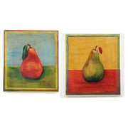 Stupell Industries Red and Green Pears 2 Piece Kitchen Painting Print Wall Plaque Set