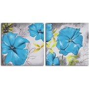 My Art Outlet 'Poppy Blues' 2 Piece Original Painting on Wrapped Canvas