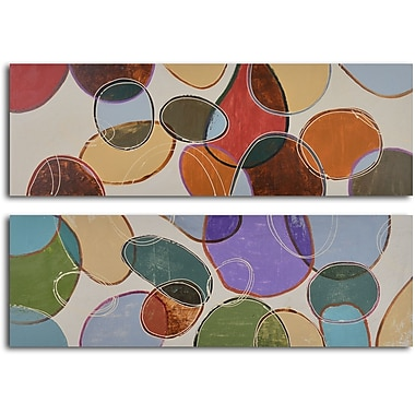 My Art Outlet 'Colored Cells at Play' 2 Piece Original Painting on Wrapped Canvas Set